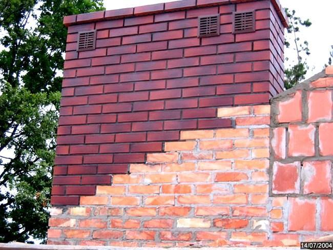 Komin z cegły pełnej, wykończenie z klinkieru