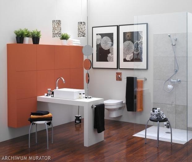 Biała łazienka z czerwonym akcentem